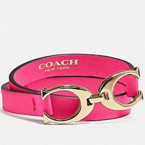 Coach Twin Signature C Double Wrap Bracelet.